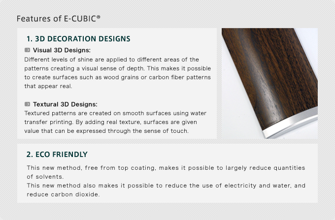 Features of E-CUBIC 1. 3D Decoration Designs  3D Visuals: Variations in gloss and matte finish mimic the look of real materials such as wood grain and carbon fiber.  3D Textures: Texture is added to reproduce the feel of real materials.  2. ECO-FRIENDLY CUBIC  E-CUBIC® is an even more environmentally friendly version of the original CUBIC PRINTING® technology. The patented E-CUBIC® process eliminates the need for a top coat, which vastly reduces electricity and water usage.