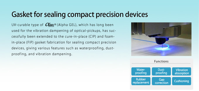 Gasket for sealing compact precision devices.UV-curable type of Alpha GEL, which has long been used for the vibration dampening of optical-pickups, has successfully been extended to the cure-in-place (CIP) and foam-in-place (FIP) gasket fabrication for sealing compact precision devices, giving various features such as waterproofing, dust-proofing, and vibration dampening.