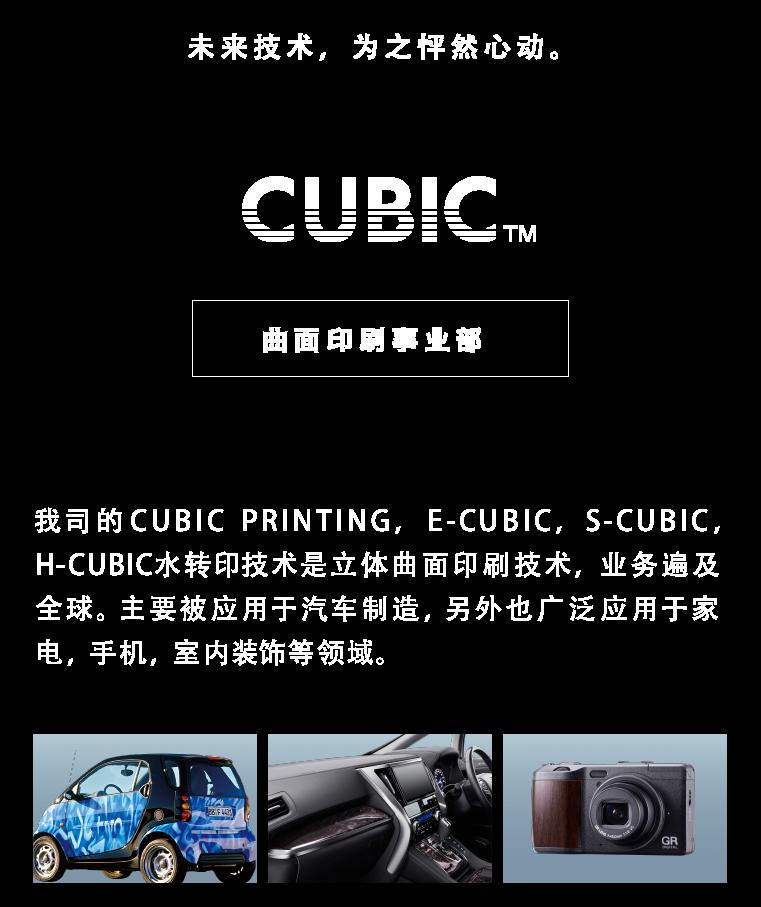 次世代の技術でときめきをデザインする CUBIC PRINTING ® 曲面印刷事業 3次元形状にも対応する加飾技術「CUBIC PRINTING(キュービックプリンティング)」、「E-CUBIC(イーキュービック)」、「S-CUBIC(エスキュービック)」、「H-CUBIC(エイチキュービック)」を世界に向けて展開。自動車を中心に、家電、携帯電話、インテリアなど幅広い分野で採用されています。
